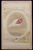 Excellent Hand Colored Period Cdv Image of the Confederate Flag In Memoriam - w/Tax Stamp