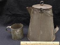 Huge Nearly 2 Gallon Capacity Civil War Tin Coffee Pot w/Lid & Wire Bail