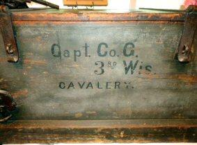 Here is a First Rate Artifact that belongs to my friend Tom Bowen. It's a Company Camp or Records Chest for Company G, 3rd Wisconsin Cavalry. The chest is complete with its original heavy period iron hasps and hinges, padlock and chain, iron handles on the ends, and interior door. Click the small picture and check out the detailed images.  SB