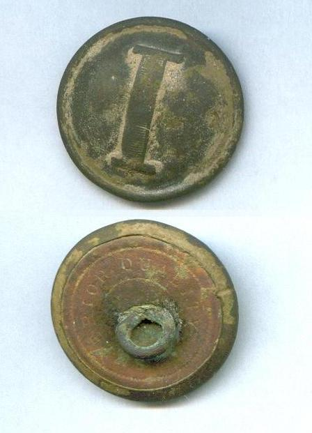 Nice Lined -I- Confederate Infantry Button from General Hindman's Camp, after a light rinsing with water.