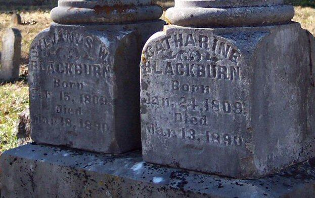 Double tombstone of War Eagle Mill's original builders, Sylvanus & Catharine Blackburn. Notice their death dates are only 5 days apart. When Catharine died, Sylvanus told his sons, she was the love of his life, and he could not go on without her. Instructed them to leave the grave open. He then prayed and fasted for five days before dying himself !