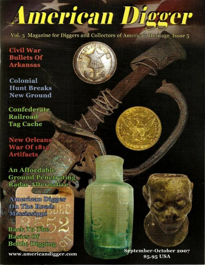 "Cover of Volume 3, Issue 5, September/October, 2007, Issue of American Digger Magazine with the article, ""Rounds of the Razorbacks."""